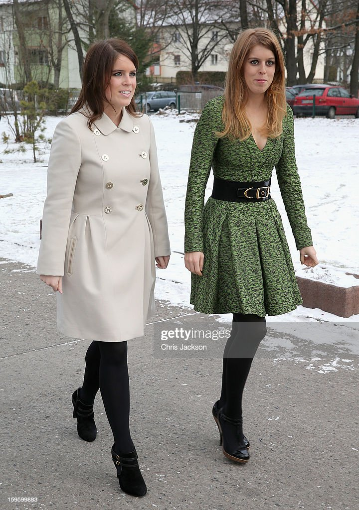 Princess Beatrice and Princess Eugenie of York arrive at the British School in Berlin on January 17, 2013 in Berlin, Germany. The royal sisters are in Berlin supporting the government's GREAT initiative, promoting the UK abroad. They will visit Hanover tomorow as part of a two-day trip funded by their father the Duke of York. .