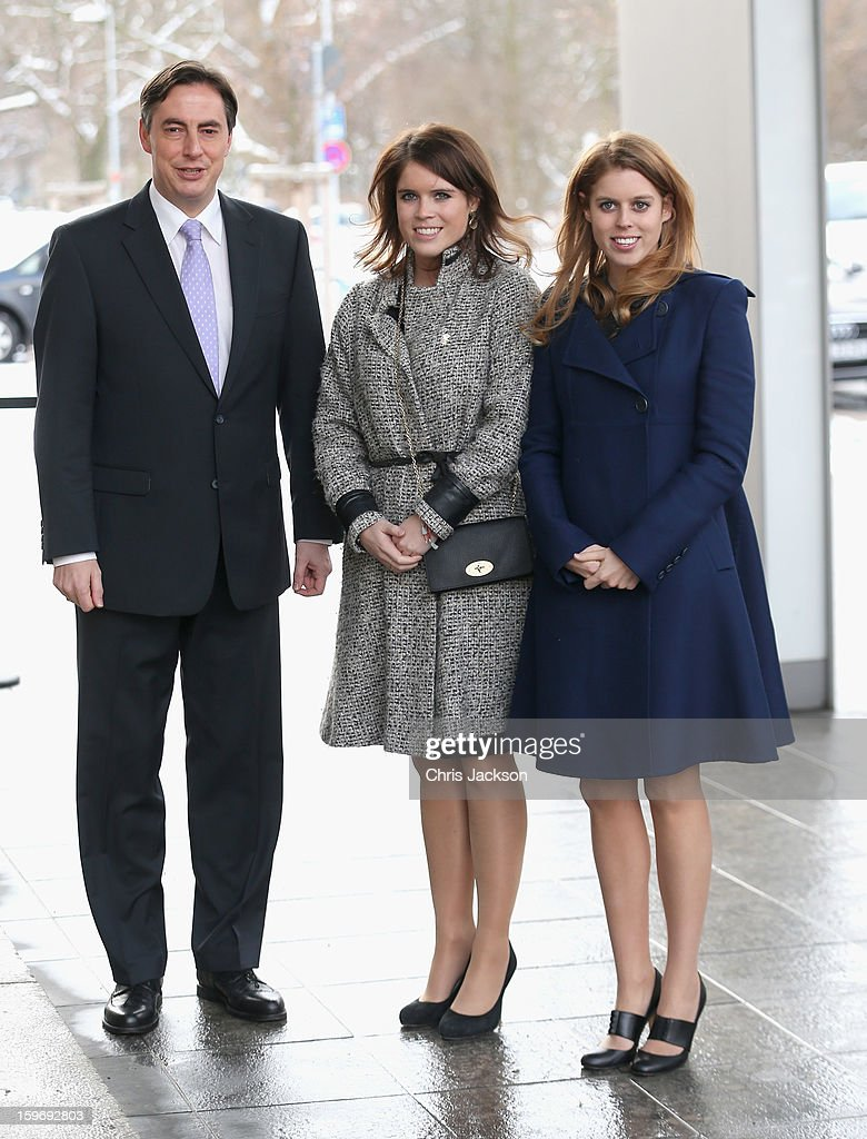 Princess Beatrice and Princess Eugenie pose with David McAllister as they arrive to call on Minister David McAllister of Lower Saxony on January 18, 2013 in Hanover, Germany. The royal sisters are in Hanover on the second day of a two day visit to Germany. Yesterday the royals were in Berlin helping support GREAT, the British Government's initiative promoting the UK abroad.
