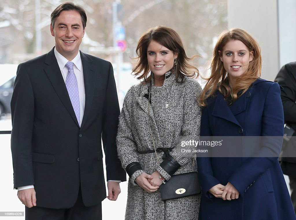 Princess Beatrice (R) and Princess Eugenie (C) pose with David McAllister as they arrive to call on Minister David McAllister of Lower Saxony on January 18, 2013 in Hanover, Germany. The royal sisters are in Hanover on the second day of a two day visit to Germany.Yesterday the royals were in Berlin helping support GREAT, the British Government's initiative promoting the UK abroad.