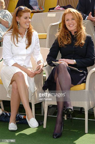 Princess Beatrice and Sarah Ferguson during Veuve Clicquot Polo Gold Cup Final July 18 2004 at Cowdry Park in West Sussex Great Britain