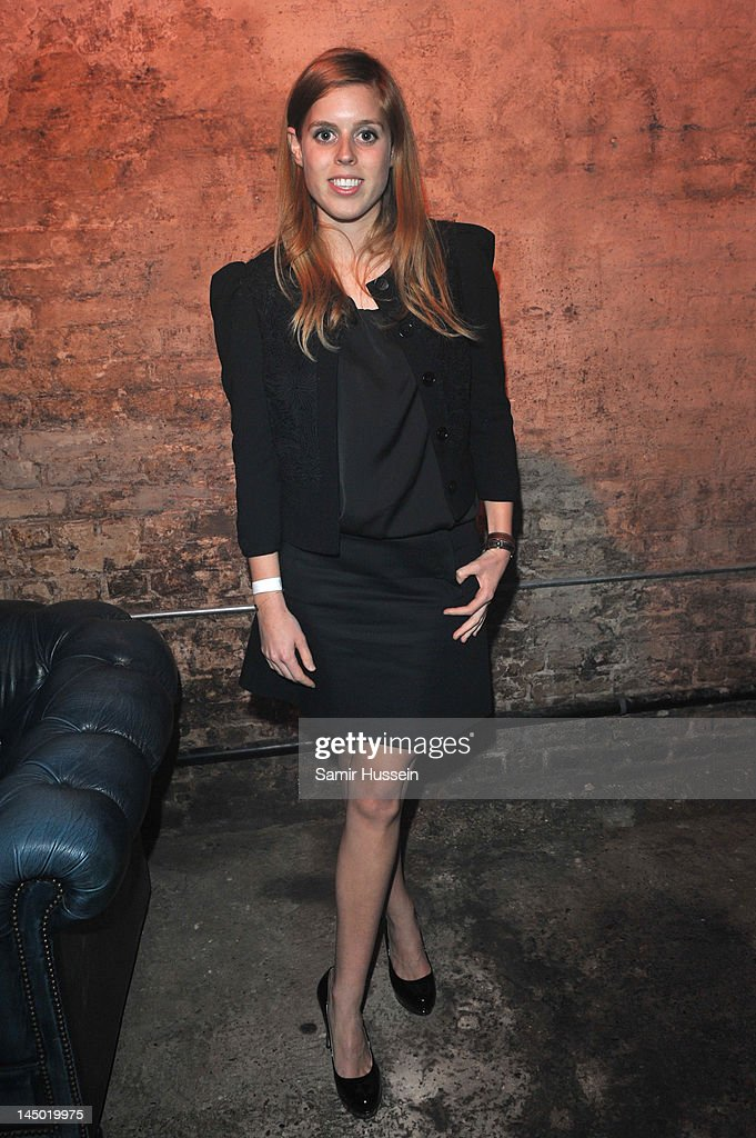 Princess Beatrice arrives at 'A Night Out With The Millennium Network' at the Old Vic Tunnels, presented by The Clinton Foundations and The Reuben Foundation. The evening, hosted by Bill Clinton, Chelsea Clinton, Gwyneth Paltrow and Will i Am took place on the 22nd May 2012 in London, England.