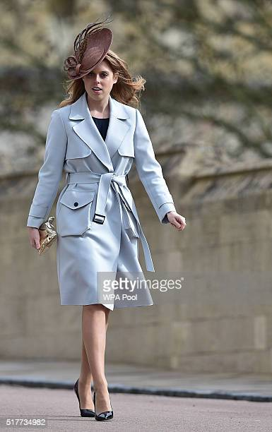 Princess Beatrice arrives for the Easter Sunday church service at St George's Chapel Windsor Castle on March 27 2016 in Windsor England
