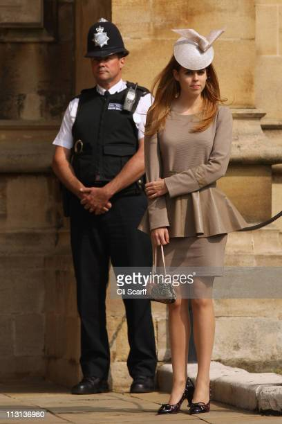 Princess Beatrice arrives to attend the Easter Matins at St George's Chapel in Windsor Castle on April 24 2011 in Windsor England The annual service...