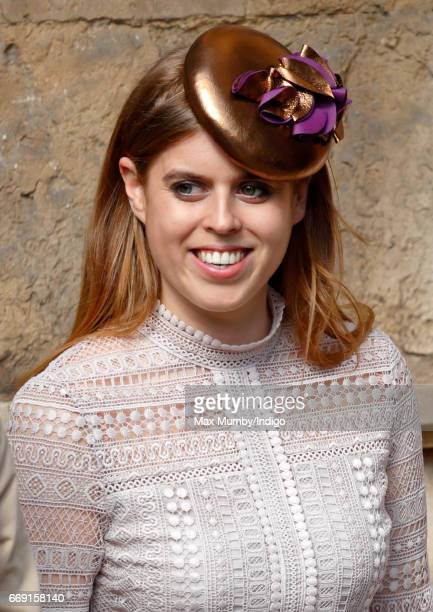Princess Beatrice attends the traditional Easter Sunday church service at St George's Chapel Windsor Castle on April 16 2017 in Windsor England