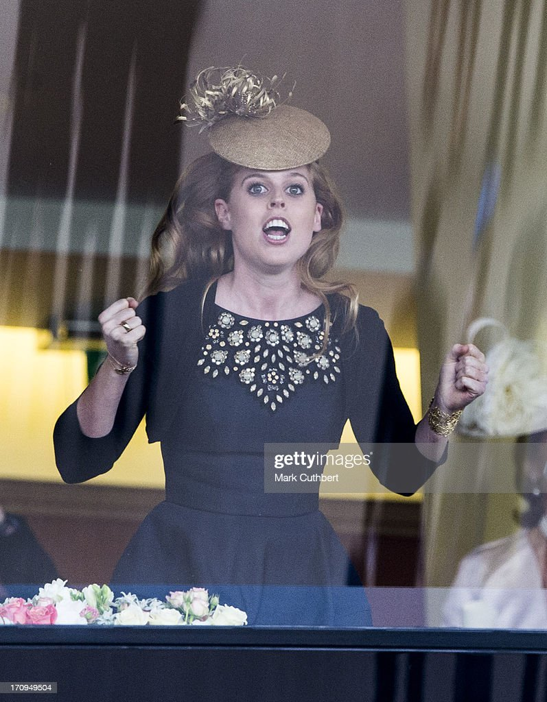 Princess Beatrice cheers on the Queens horse 'Estimate' to win The Gold Cup on Ladies Day on Day 3 of Royal Ascot at Ascot Racecourse on June 20, 2013 in Ascot, England.