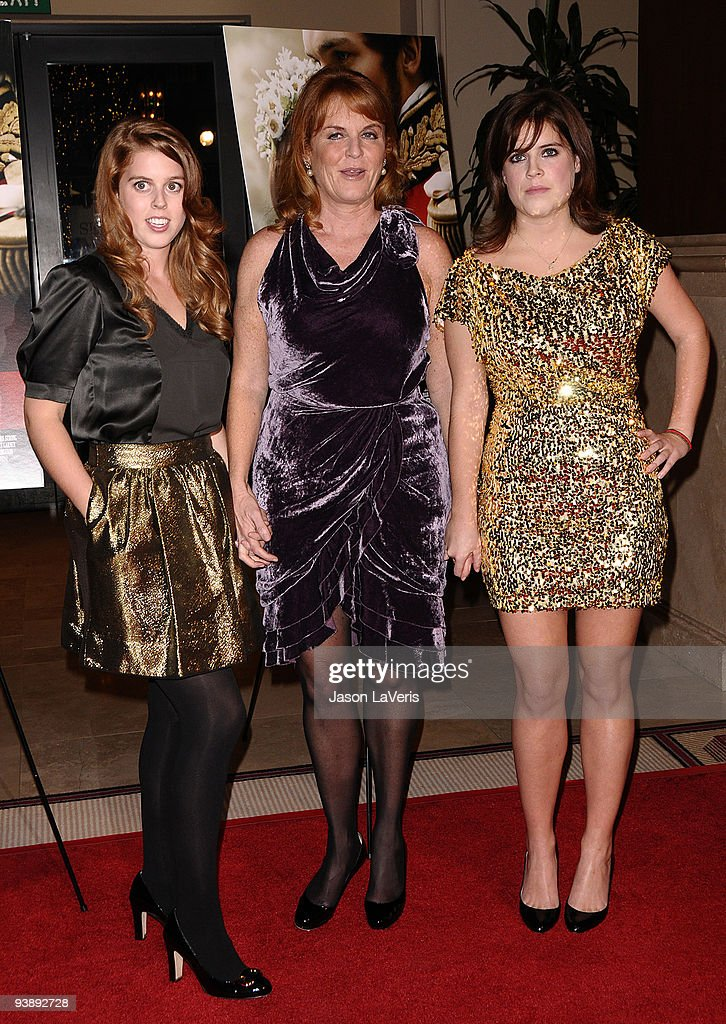 Princess Beatrice, Dutchess of York Sarah Ferguson and princess Eugenieattend the premiere of 'The Young Victoria' at Pacific Theatre at The Grove on December 3, 2009 in Los Angeles, California.