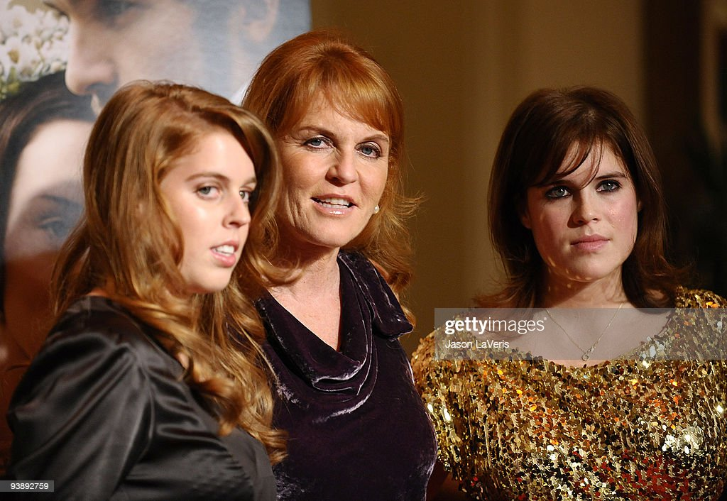 Princess Beatrice, Dutchess of York Sarah Ferguson and princess Eugenie attends the premiere of 'The Young Victoria' at Pacific Theatre at The Grove on December 3, 2009 in Los Angeles, California.