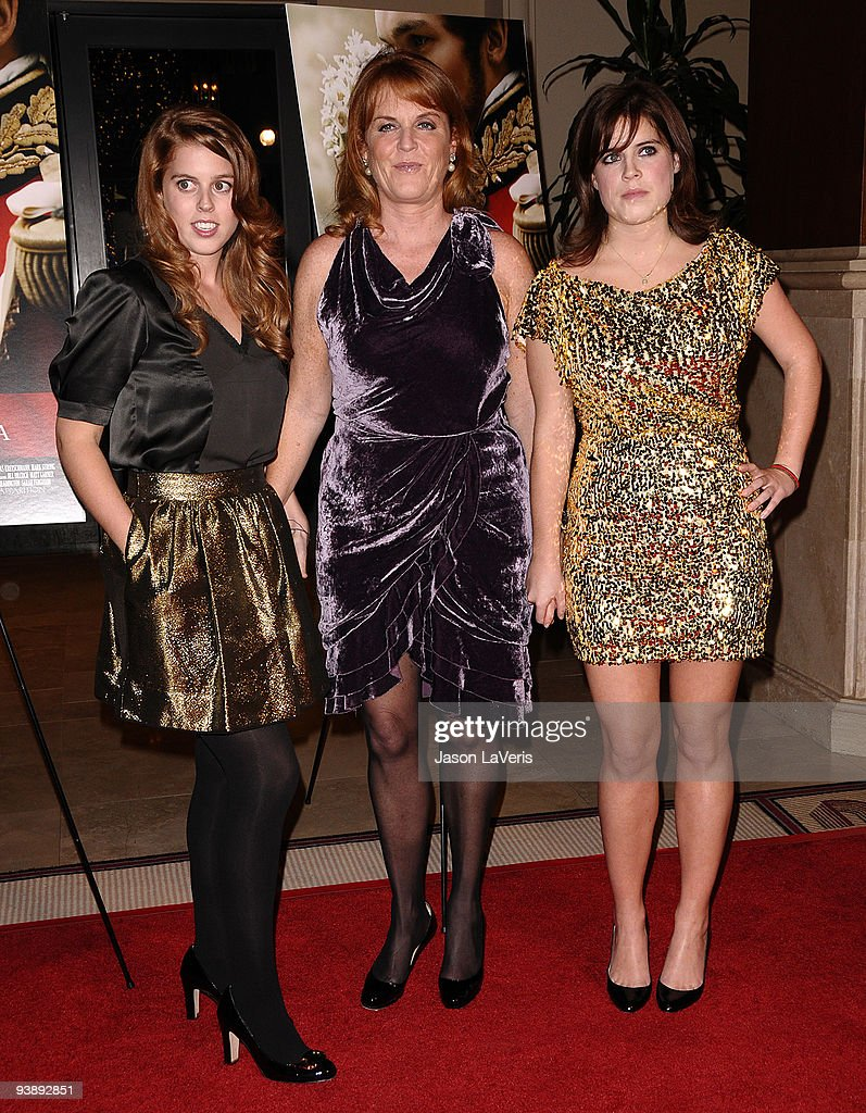 Princess Beatrice, Dutchess of York Sarah Ferguson and Princess Eugenie attend the premiere of 'The Young Victoria' at Pacific Theatre at The Grove on December 3, 2009 in Los Angeles, California.