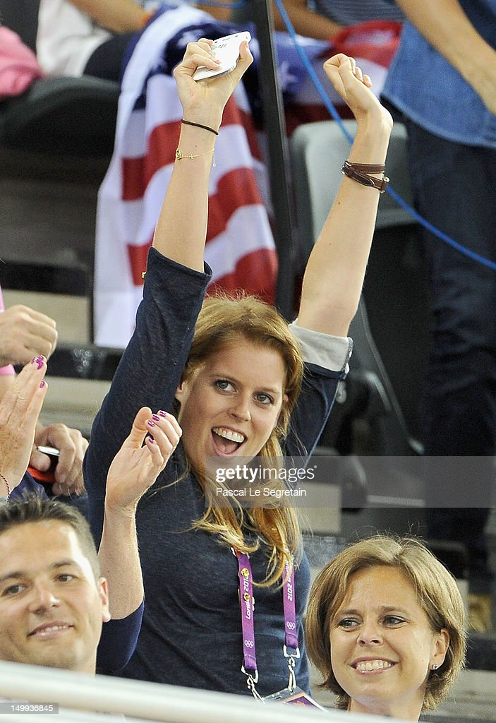 Princess Beatrice enjoys the atmosphere at the Track Cycling on Day 11 of the London 2012 Olympic Games at the Velodrome on August 7, 2012 in London, England.