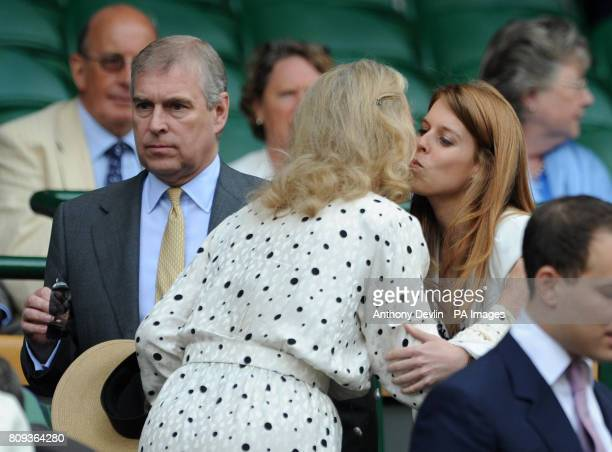 Princess Beatrice is greeted by Princess Michael of Kent as she arrives with the Duke of York during day eleven of the 2011 Wimbledon Championships...