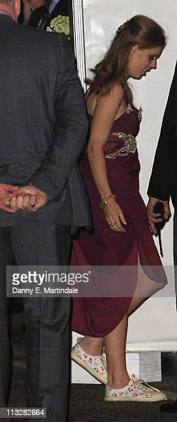 Princess Beatrice is seen attending the after party of the Buckingham Palace wedding reception of Prince William Duke of Cambridge and Catherine...