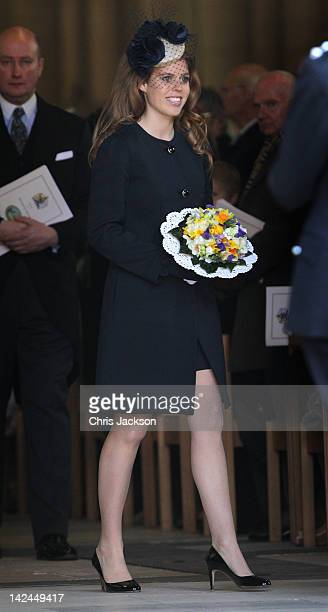 Princess Beatrice leaves York Minster after a Maundy Thursday Service on April 5 2012 in York England Queen Elizabeth II Prince Philip Duke of...