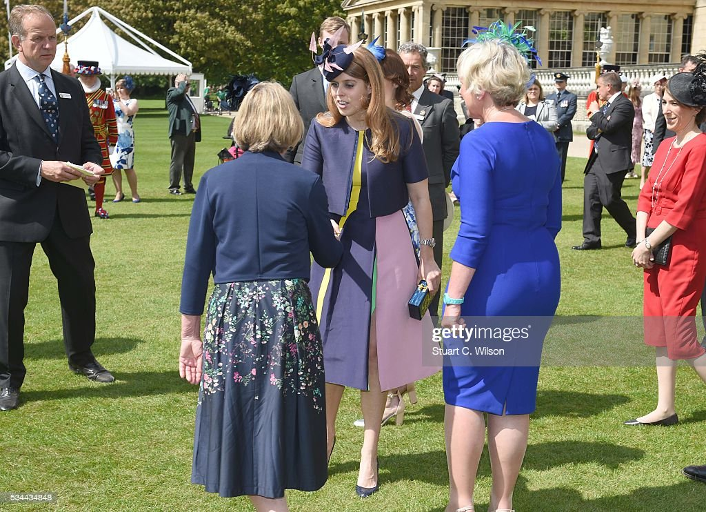 Princess Beatrice meets guests as she attends a Buckingham Palace garden party for 'The Not Forgotten Association' at Buckingham Palace on May 26, 2016 in London, England.