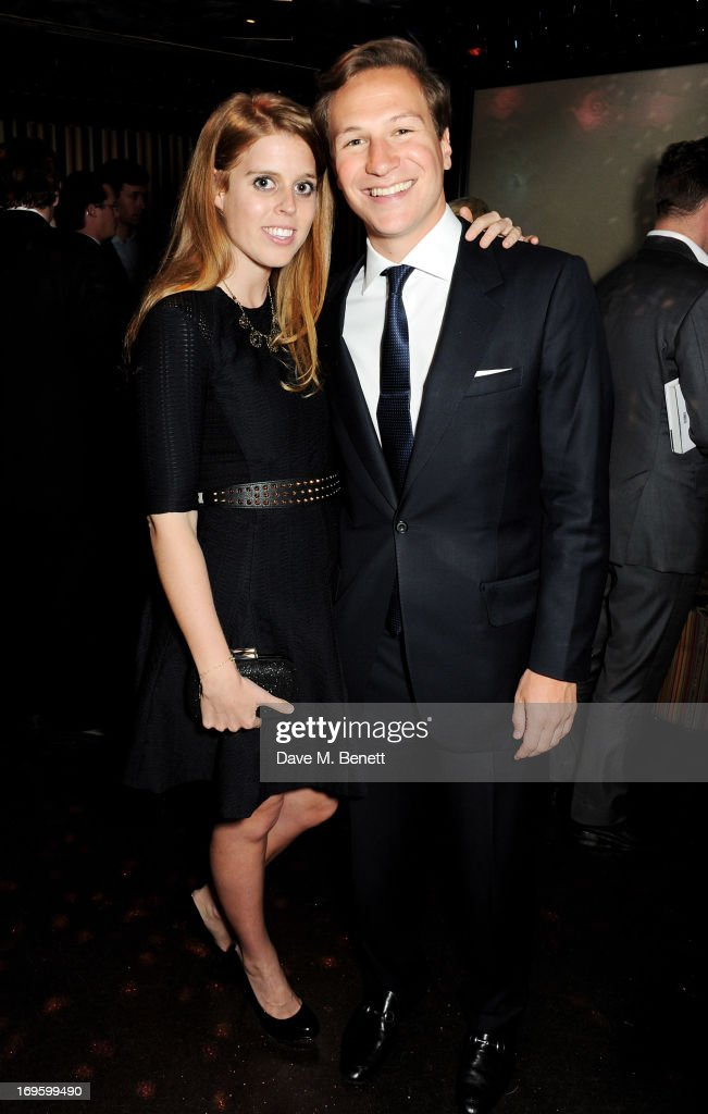 Princess Beatrice of York (L) and Dave Clark attend the launch of 'The New Digital Age: Reshaping The Future Of People, Nations and Business' by Eric Schmidt and Jared Cohen, hosted by Jamie Reuben, at Loulou's on May 28, 2013 in London, England.