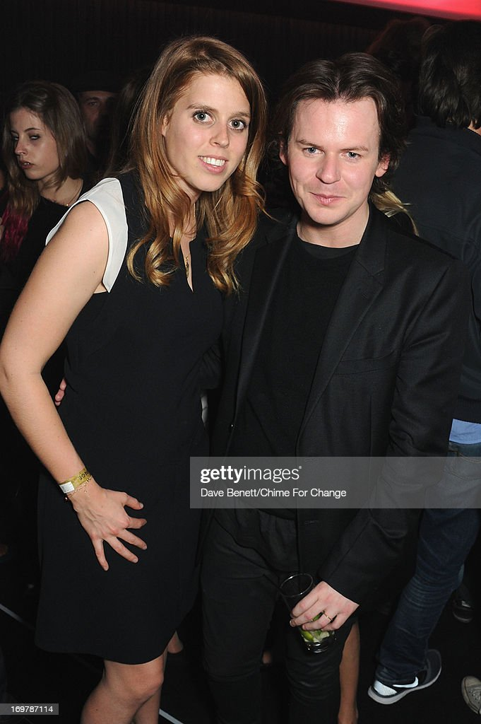 Princess Beatrice of York (L) and designer Christopher Kane attend the after show party following the 'Chime For Change: The Sound Of Change Live' Concert at Twickenham Stadium on June 1, 2013 in London, England. Chime For Change is a global campaign for girls' and women's empowerment founded by Gucci with a founding committee comprised of Gucci Creative Director Frida Giannini, Salma Hayek Pinault and Beyonce Knowles-Carter.