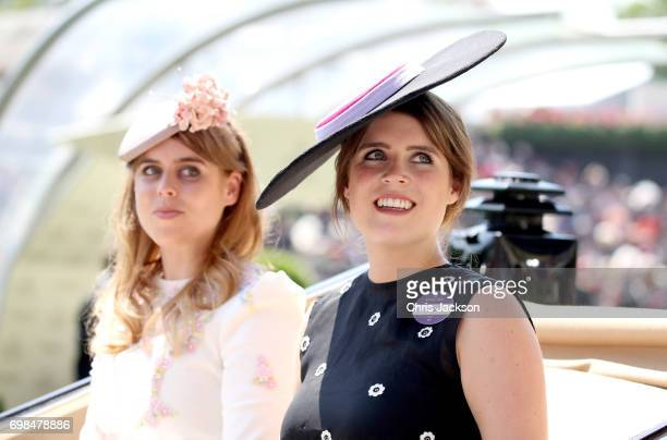 Princess Beatrice of York and Princess Eugenie of York arrive in the parade ring during Royal Ascot 2017 at Ascot Racecourse on June 20 2017 in Ascot...