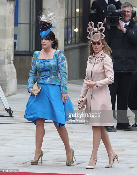 Princess Beatrice of York and Princess Eugenie of York arrive to attend the Royal Wedding of Prince William to Catherine Middleton at Westminster...