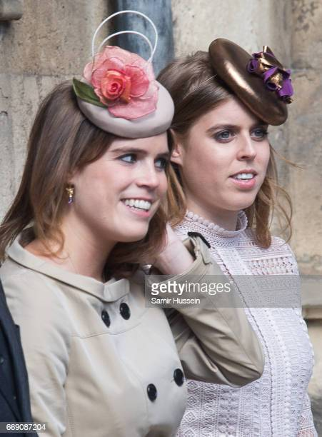 Princess Beatrice of York and Princess Eugenie of York attend Easter Day Service at St George's Chapel on April 16 2017 in Windsor England