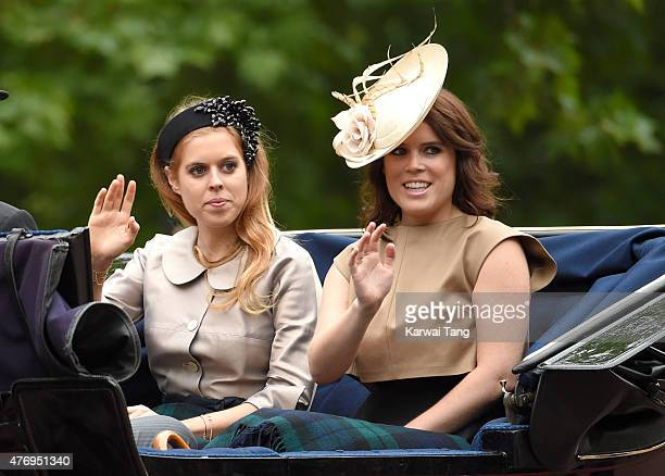 Princess Beatrice of York and Princess Eugenie of York attend the annual Trooping The Colour ceremony at Horse Guards Parade on June 13 2015 in...