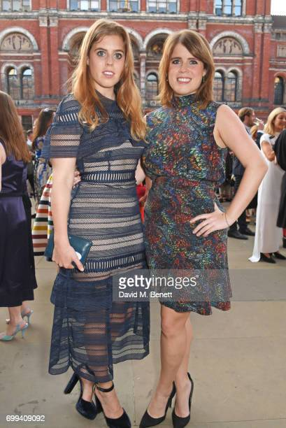 Princess Beatrice of York and Princess Eugenie of York attend the 2017 annual VA Summer Party in partnership with Harrods at the Victoria and Albert...
