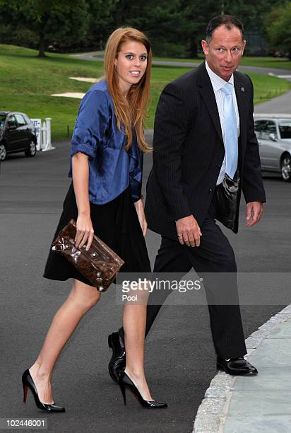 Princess Beatrice of York arrives at Greenwich Country Club along with other guests who are interested in the Sentebale Charity on June 26 2010 in in...