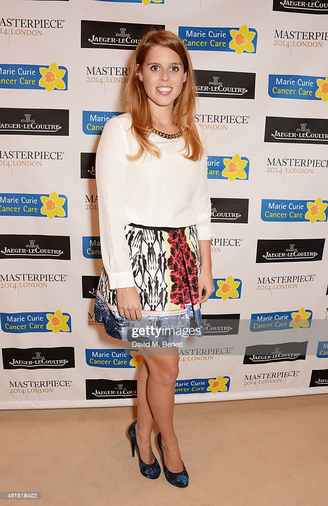 <a gi-track='captionPersonalityLinkClicked' href=/galleries/search?phrase=Princess+Beatrice+of+York&family=editorial&specificpeople=531999 ng-click='$event.stopPropagation()'>Princess Beatrice of York</a> arrives at The Masterpiece Marie Curie Party supported by Jaeger-LeCoultre and hosted by Heather Kerzner at The Royal Hospital Chelsea on June 30, 2014 in London, England.