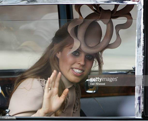 Princess Beatrice of York arrives to attend the Royal Wedding of Prince William to Catherine Middleton at Westminster Abbey on April 29 2011 in...