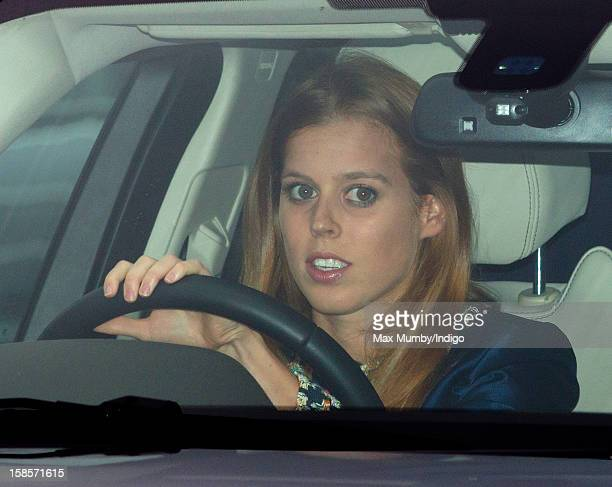 Princess Beatrice of York attends a Christmas lunch for members of the Royal Family hosted by Queen Elizabeth II at Buckingham Palace on December 19...
