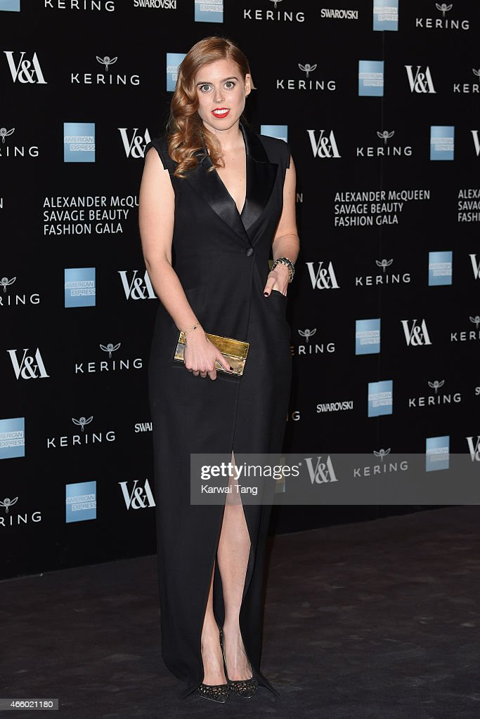Princess Beatrice of York attends a private view for the 'Alexander McQueen Savage Beauty' exhibition at Victoria Albert Museum on March 12 2015 in...