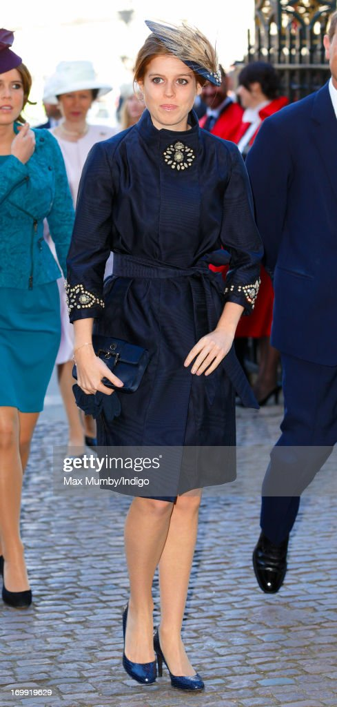 Princess Beatrice of York attends a service of celebration to mark the 60th anniversary of the Coronation of Queen Elizabeth II at Westminster Abbey on June 4, 2013 in London, England. The Queen's Coronation took place on June 2, 1953 after a period of mourning for her father King George VI, following her ascension to the throne on February 6, 1952. The event 60 years ago was the first time a coronation was televised for the public.