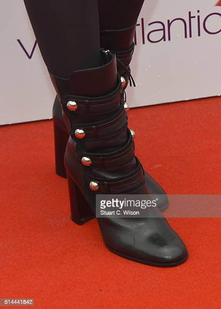 Princess Beatrice of York boot detail arrives for WE Day at SSE Arena on March 9 2016 in London England WE Day is a celebration of youth making a...