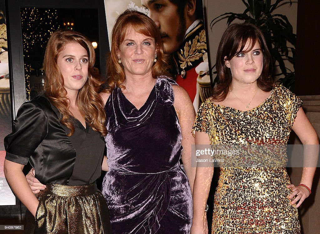 Princess Beatrice of York, Dutchess of York Sarah Ferguson and princess Eugenie of York attend the premiere of 'The Young Victoria' at Pacific Theatre at The Grove on December 3, 2009 in Los Angeles, California.