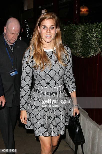 Princess Beatrice of York is seen at Lou Lou's for the Love Magazine party on Day 4 of London Fashion Week Spring/Summer 2017 on September 19 2016 in...