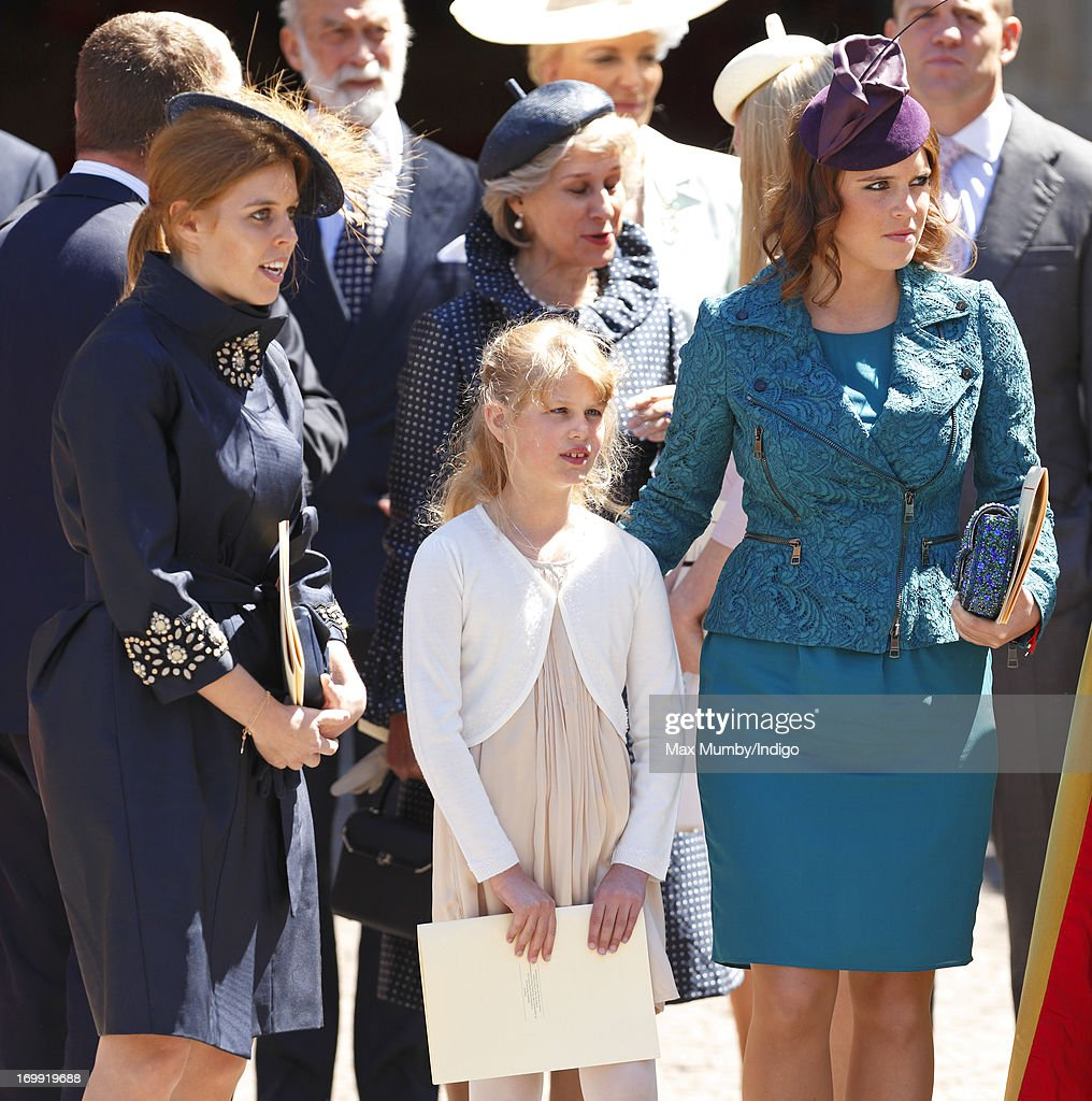 Princess Beatrice of York, Lady Louise Windsor and Princess Eugenie of York attend a service of celebration to mark the 60th anniversary of the Coronation of Queen Elizabeth II at Westminster Abbey on June 4, 2013 in London, England. The Queen's Coronation took place on June 2, 1953 after a period of mourning for her father King George VI, following her ascension to the throne on February 6, 1952. The event 60 years ago was the first time a coronation was televised for the public.