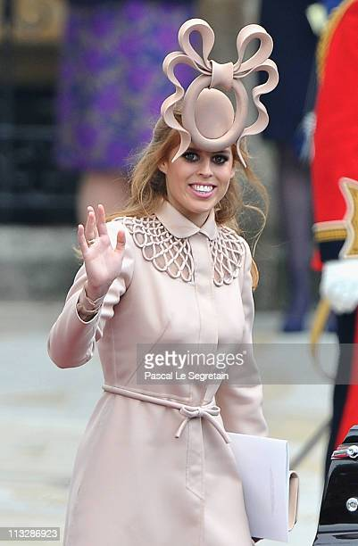 Princess Beatrice of York leaves the Abbey following the marriage of Their Royal Highnesses Prince William Duke of Cambridge and Catherine Duchess of...