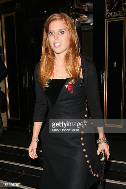 Princess Beatrice of York leaves the Dorchester hotel on November 8 2013 in London England