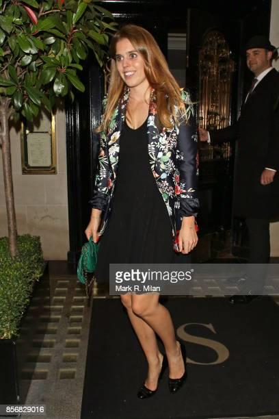 Princess Beatrice of York leaving Scotts restaurant on October 2 2017 in London England