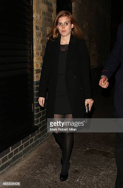 Princess Beatrice of York leaving the Chiltern Firehouse on March 5 2015 in London England