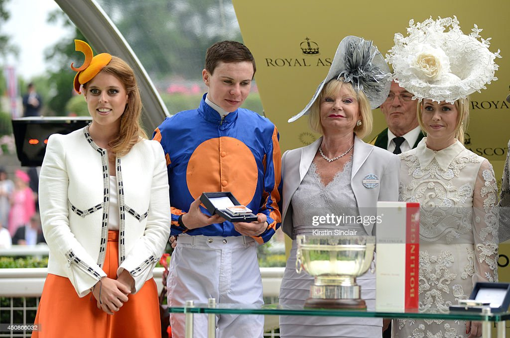 <a gi-track='captionPersonalityLinkClicked' href=/galleries/search?phrase=Princess+Beatrice+of+York&family=editorial&specificpeople=531999 ng-click='$event.stopPropagation()'>Princess Beatrice of York</a> presents the Ribblesdale Stakes trophy to jockey <a gi-track='captionPersonalityLinkClicked' href=/galleries/search?phrase=Joseph+O%27Brien+-+Jockey&family=editorial&specificpeople=12884576 ng-click='$event.stopPropagation()'>Joseph O'Brien</a>, owner Mrs. Donald Smith and guest during day three of Royal Ascot at Ascot Racecourse on June 19, 2014 in Ascot, England.