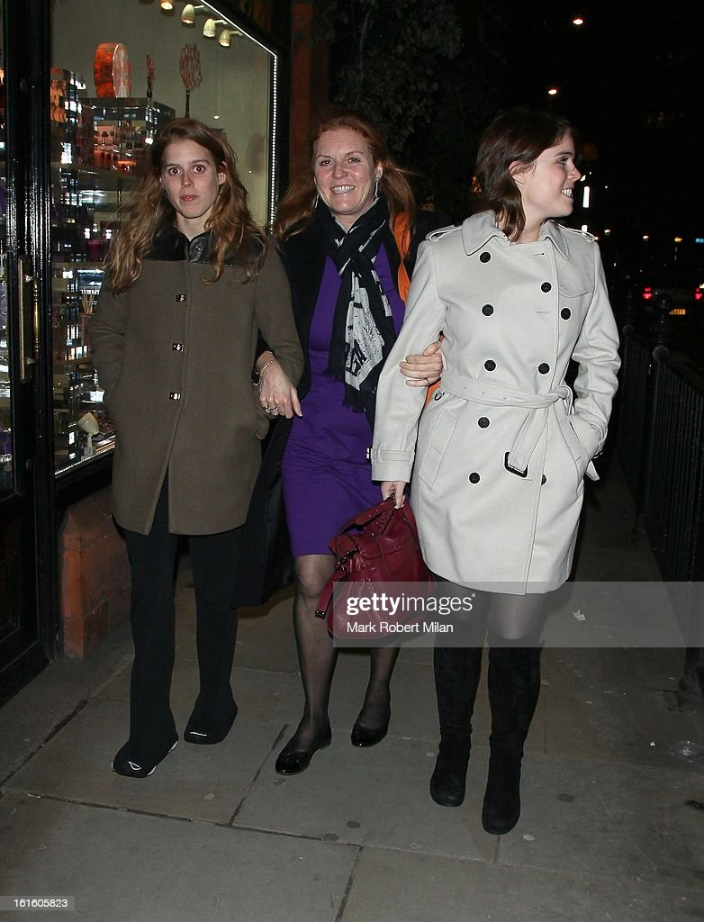 Princess Beatrice of York, Sarah Duchess of York and Princess Eugenie of York are seen at Colbert Restaurant on February 12, 2013 in London, England.