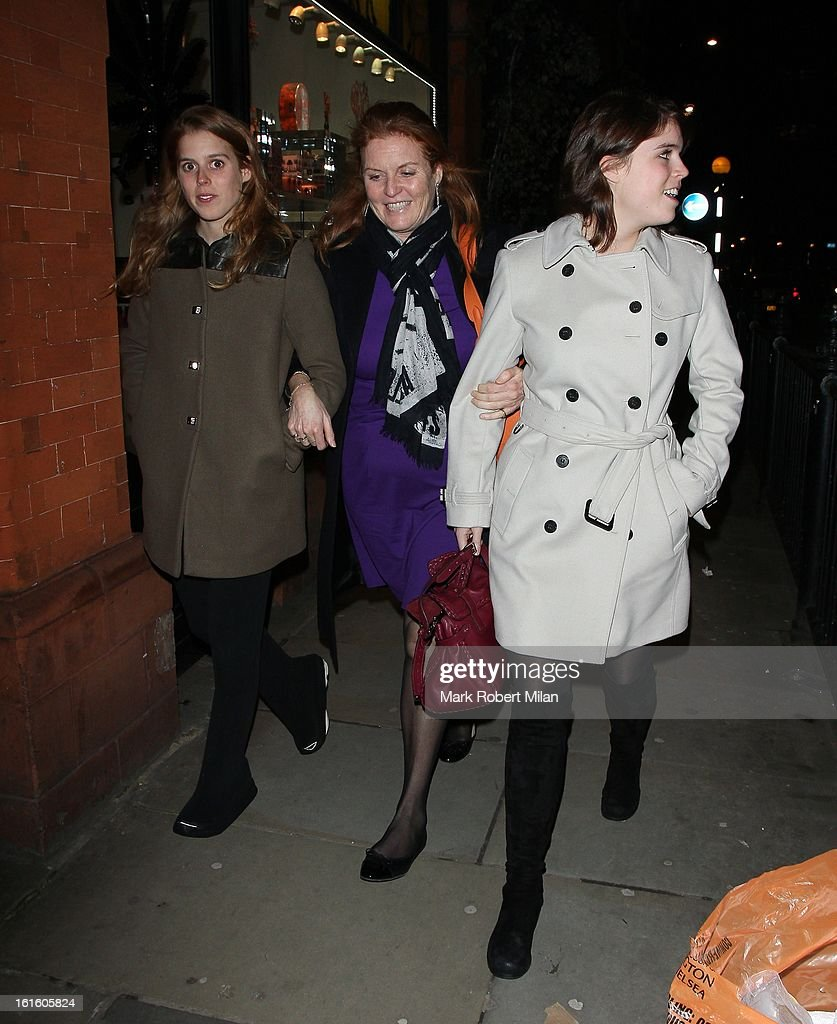 <a gi-track='captionPersonalityLinkClicked' href=/galleries/search?phrase=Princess+Beatrice+of+York&family=editorial&specificpeople=531999 ng-click='$event.stopPropagation()'>Princess Beatrice of York</a>, Sarah Duchess of York and <a gi-track='captionPersonalityLinkClicked' href=/galleries/search?phrase=Princess+Eugenie&family=editorial&specificpeople=160237 ng-click='$event.stopPropagation()'>Princess Eugenie</a> of York are seen at Colbert Restaurant on February 12, 2013 in London, England.