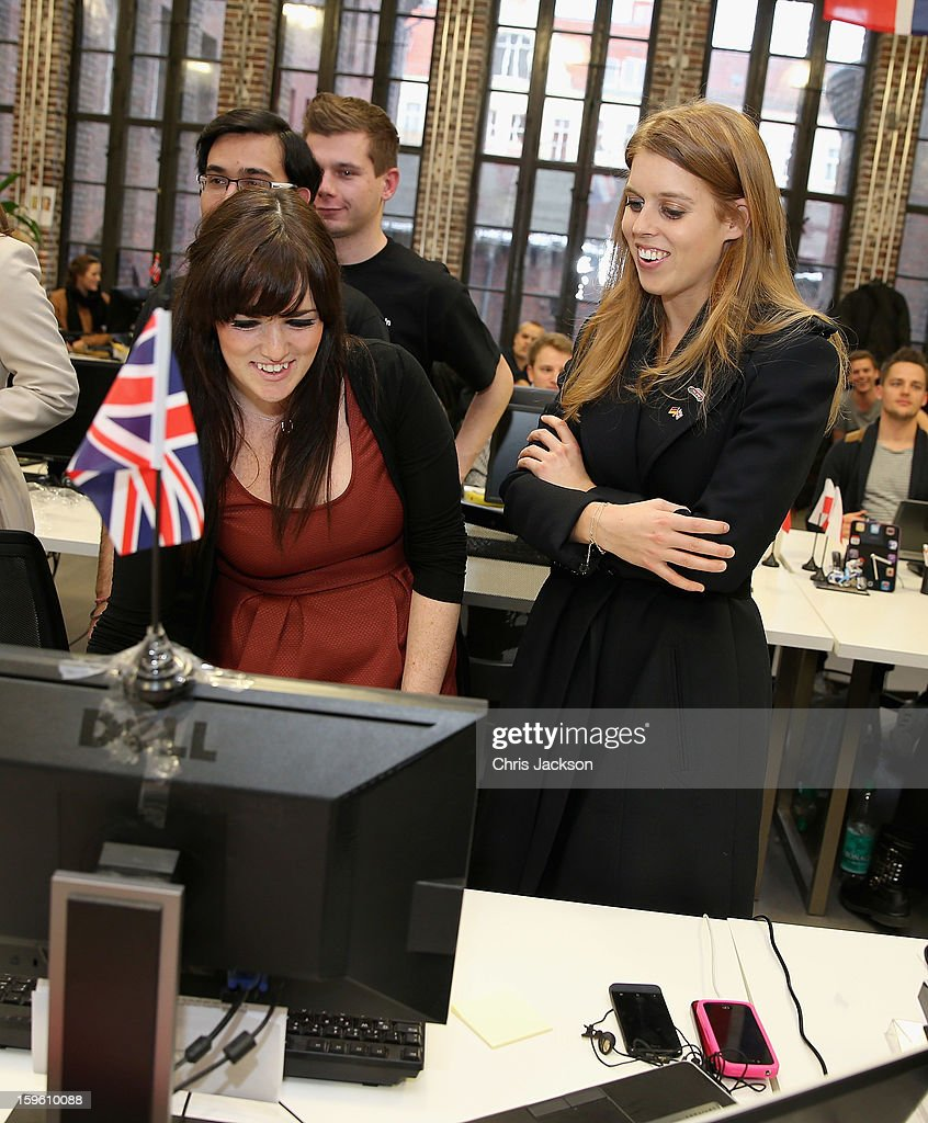 Princess Beatrice of York visits e-commerce company 'Zalando' during a visit to the city with her sister on January 17, 2013 in Berlin, Germany. The royal sisters are in Berlin supporting the government's GREAT initiative, promoting the UK abroad. They will visit Hanover tomorow as part of a two-day trip funded by their father the Duke of York.
