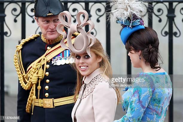 Princess Beatrice of York with her sister Princess Eugenie of York arrive to attend the Royal Wedding of Prince William to Catherine Middleton at...
