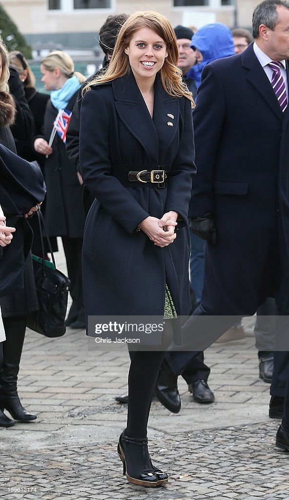 Princess Beatrice poses next to a Mini in front of Brandenburg Gate as she promotes the GREAT initiative on January 17, 2013 in Berlin, Germany. The royal sisters are in Berlin as supporting the governments GREAT initiative promoting the UK abroad. They will visit Hanover tommorow as part of this two day trip funded by their father the Duke of York.