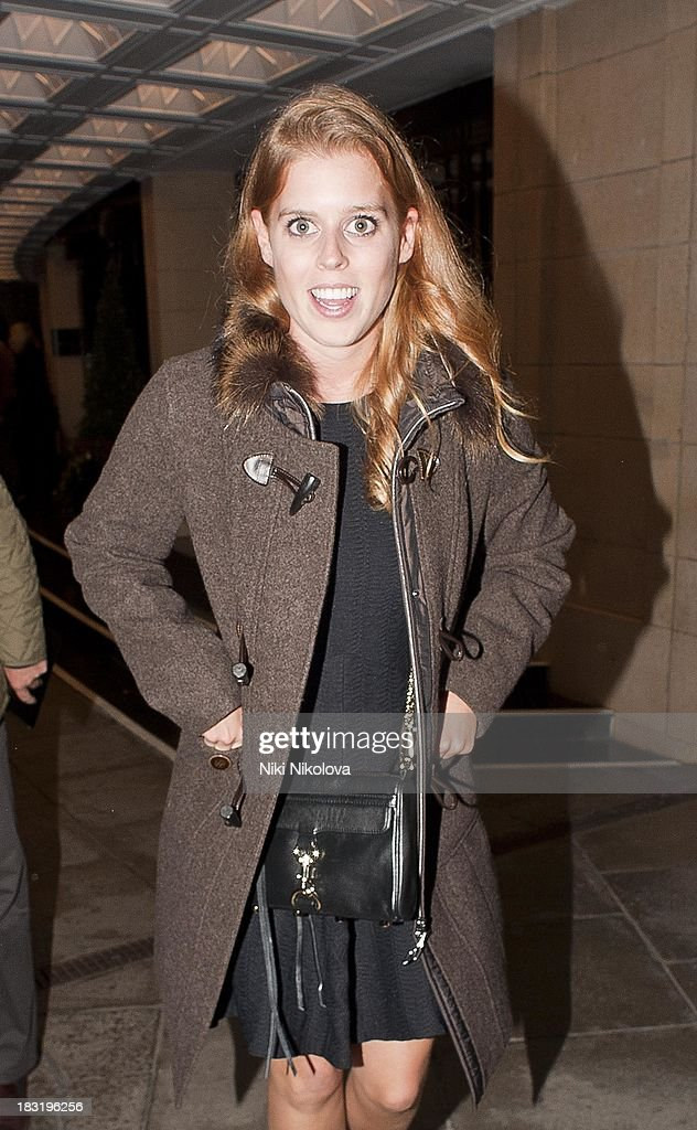 Princess Beatrice sighted leaving the Dorchester Hotel, Park Lane on October 5, 2013 in London, England.