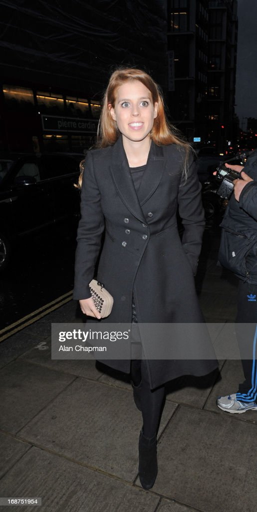 Princess Beatrice sighting arriving at the Bulgari Hotel for the Marie Curie charity auction on May 14, 2013 in London, England.