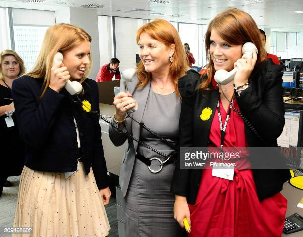 Princess Beatrice the Duchess of York and Princess Eugenie during the BGC Partner's 7th Annual Charity Trading Day at Churchill Place in Canary Wharf...