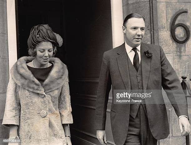 Princess Beatrix and John Ambler leave St Paul's Knightsbridge church where took place the christening of young Sibylla Louise daughter of Princess...