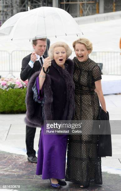 Princess Beatrix and Princess Mabel of OrangeNassau are seen arriving at the Opera House on the occasion of the celebration of King Harald and Queen...