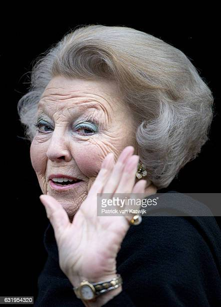 Princess Beatrix arrives at the new year reception for the diplomatic corps arrives at the royal palace on January 18 2017 in Amsterdam Netherlands